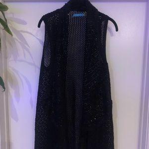 Alice+Olivia crochet/sequin sleeveless sweatervest